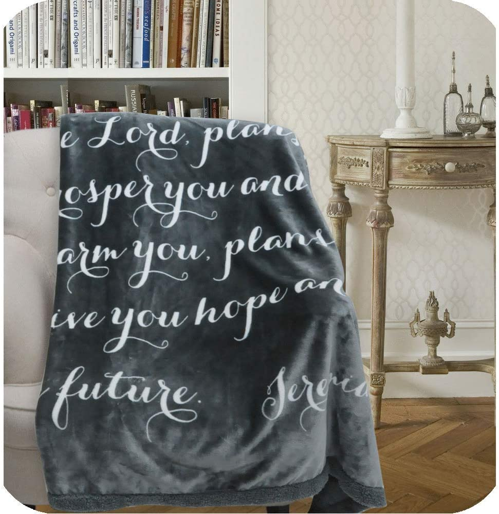 Jeremiah Scripture Throw Blanket: for I Know The Plans I Have for You. Fleece Sherpa Inspirational Faith Gift, Buttery-Soft Extra-Large Healing Quilt for Men or Women (Gray)