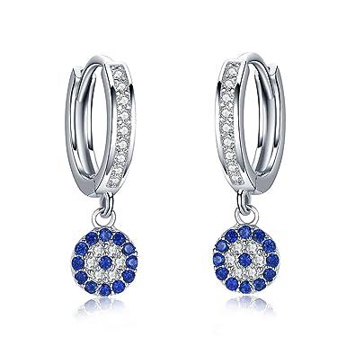 boucles d'oreilles pendantes zircon bleu
