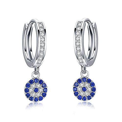 624b68fd7 Image Unavailable. Image not available for. Color: Round Blue Evil Eye Hoop  Earrings Dangle Drop Eardrop Sterling Silver 925 Cubic Zirconia CZ