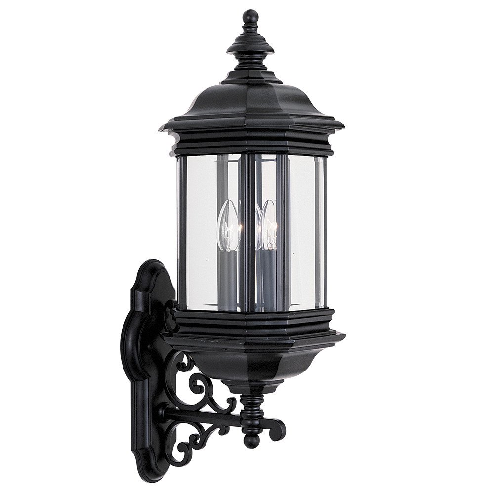 Sea Gull Lighting 8839-12 Hill Gate Three-Light Outdoor Wall Lantern with Clear Beveled Glass Panels, Black Finish