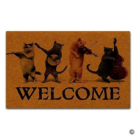 Artswow Funny alfombrilla para puerta entrada Felpudo gatos Bienvenido Música Diseñado decorativo para interiores Felpudo entrada