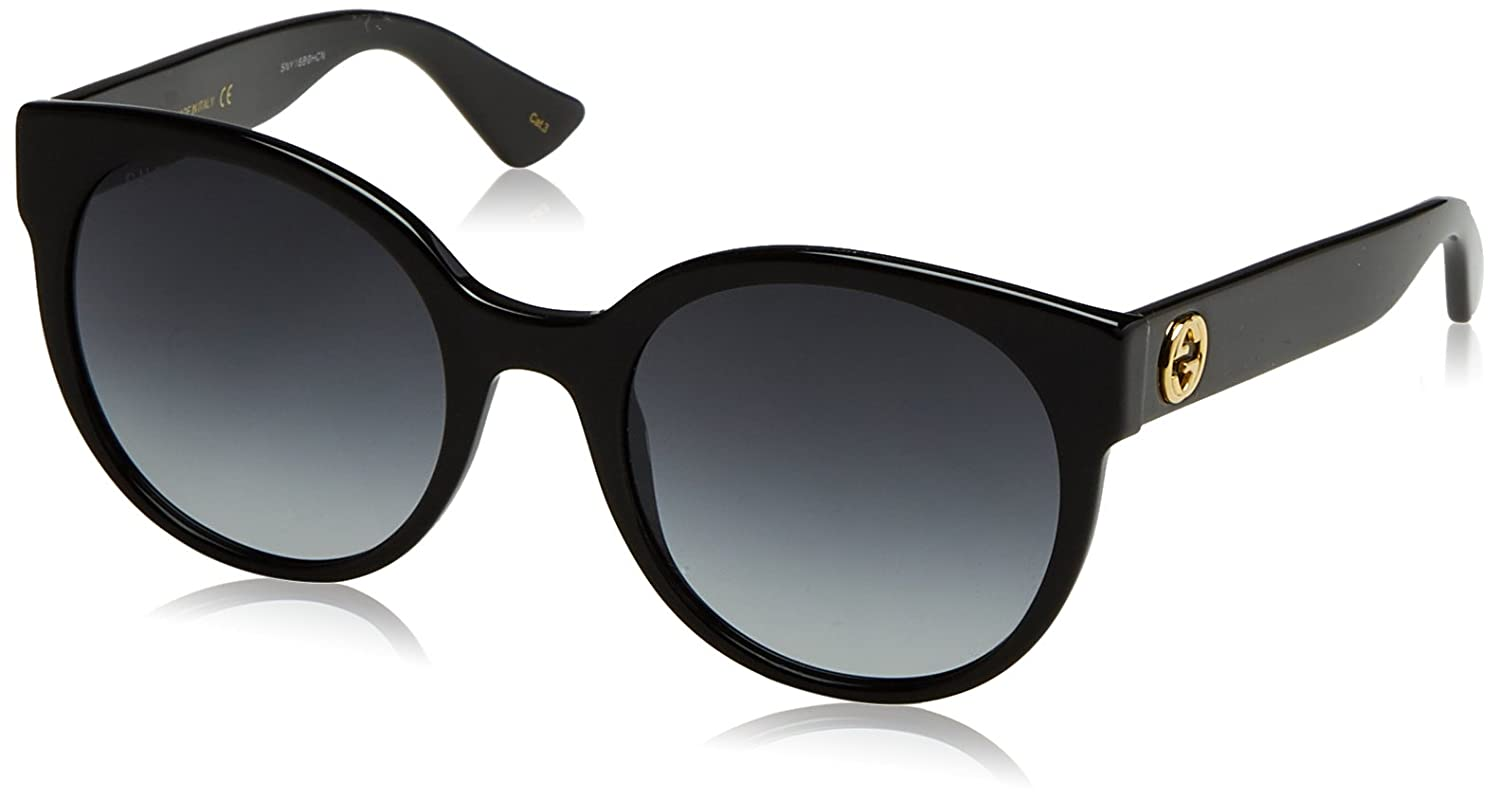 f5fd99f4482 Amazon.com  Gucci GG0035S - 001 Black Grey Gradient Round Sunglasses 54mm   Clothing