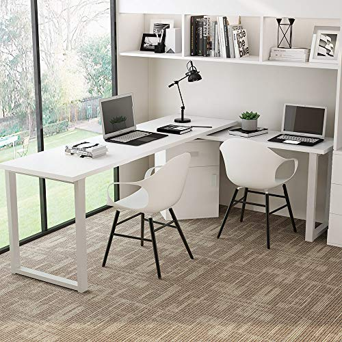 Tribesigns Rotating L-Shaped Computer Desk, 55 Inches Modern Corner Computer Desk Large Study Executive Office Desk Writing Table with Storage File Cabinet for Home Office (White)