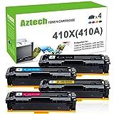 Aztech Compatible for HP 410X 410A HP M477fnw Toner Cartridge Replacement for HP Laserjet MFP M477fnw M477fdw M477fdn Toner, HP LaserJet Pro M452dn M452dw M452nw Toner (CF410X CF411X CF412X CF413X )
