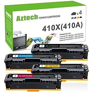 Aztech 410X Compatible for HP 410A 410X HP M477fnw M477fdn Toner Cartridge for HP Laserjet MFP M477fnw M477fdw M477fdn Toner HP LaserJet Pro M452dn M452dw M452nw Toner (CF410X CF411X CF412X CF413X)