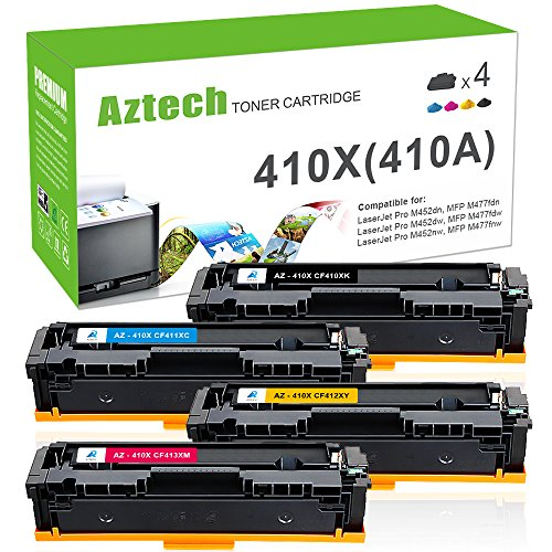Aztech 410X Compatible for HP 410A 410X M477fnw M452dn Cartridge for HP Laserjet MFP M477fnw M477fdw M477fdn Toner HP Laserjet Pro M452dn M452dw M452nw Ink Toner Printer (CF410X CF411X CF412X CF413X)