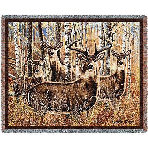 Pure Country Weavers - Sudden Encounter Lodge Cabin Hunting Decor Woven Tapestry Throw Blanket with Fringe Cotton USA Size 72 x 54 ()