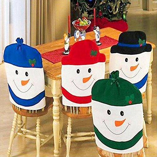 Homecube Christmas Ornaments, Christmas Snowman Chair Back Covers for Dining Room Home Holiday Party, Family Composition,Set of 4