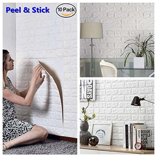 Decorative Brick Panels (Arthome White Brick 3D Wall Panels Peel and Stick Wallpaper for Living Room Bedroom Background Wall Decoration (10 Pack, White 56.9 sq feet))
