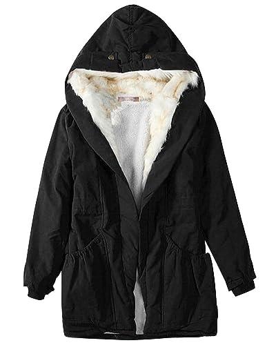 Mujer Chaqueta Abrigo de Invierno Cálido Jacket Parka con Capucha Negro S