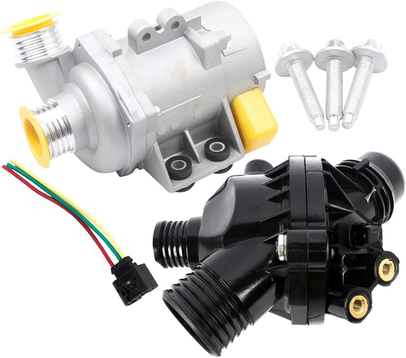 ENGINE THERMOSTAT ELECTRIC WATER PUMP for BMW 11537549476 11517586925 SET 2
