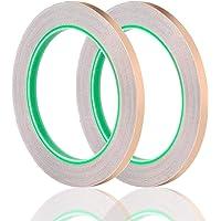 Koperfolie Tape met geleidende lijm, 2 Pack 1/4 Inch Koper Slug Tape Dual Geleidende Tape, Koperen Strip Voor…
