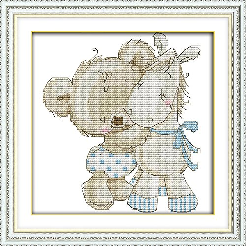CaptainCrafts Hot New DIY Art Cross Stitch Kits Patterns Needlecrafts Counted Embroidery Kit - Bear and Donkey (White)