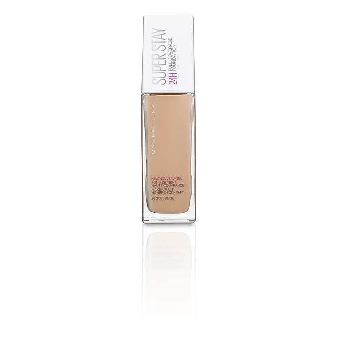 Maybelline Mayb SuperStay 24H 28 NU Soft Beige base de maquillaje Frasco dispensador Líquido - Base de maquillaje (Soft Beige, Piel mixta, Piel seca, ...