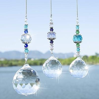 H&D Clear Crystal Prism Ball Rainbow Maker Window Prisms Suncatcher, Pack of 3 : Garden & Outdoor