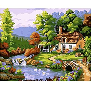 SUBERY DIY Oil Painting Paint by Numbers Kits for Adults Kids Beginner - Country House 16x20 inches (Frameless)