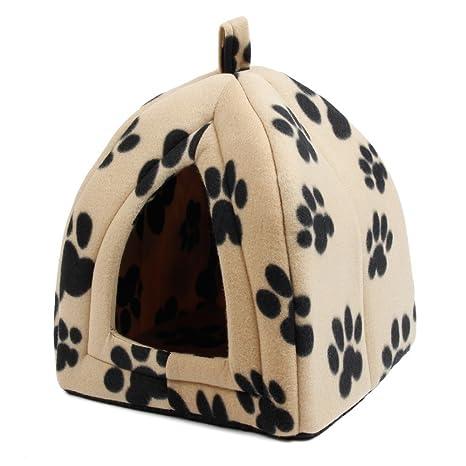 Cama caseta textura suave para mascotas blanca con diseño huellas de 40 x 32 x 32