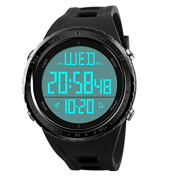 b6b3394b0c9 Image Unavailable. Image not available for. Color  Men s Digital Sports  Watch Large Numbers Waterproof Stopwatch Countdown LED Military ...