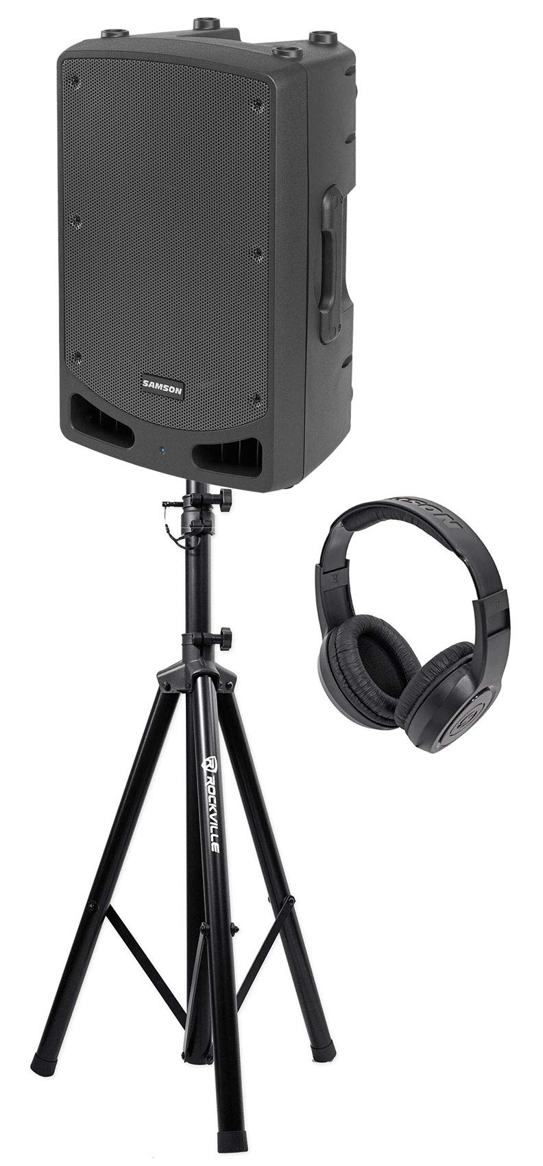 Samson RL112A 12'' 800w Powered Active Bi-Amped DJ PA Speaker+Stand+Headphones by Samson Technologies
