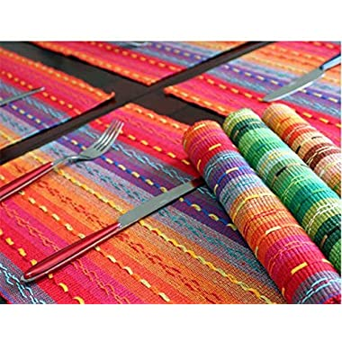 Ivenf Set of 4 100% Handmade Woven Braided Ribbed Cotton Table Placemats Rainbow Red 12  x 18