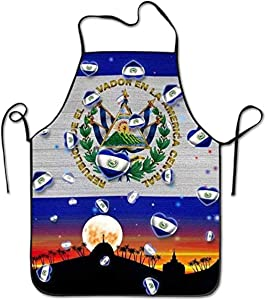 Favorite-FV Cooking Professional Adults Bibs Gifts Barbecue Apron S 20.5×28.3 in Aprons El Salvador Flag Unisex Kitchen BBQ Cook Chef Apron