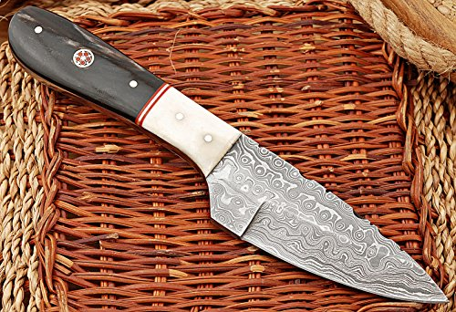 Beautiful Damascus Knife Made Of Remarkable Damascus Steel and Exotic Handle(Bone/Horn) -Its A Hunting Knife With Sheath TJ101