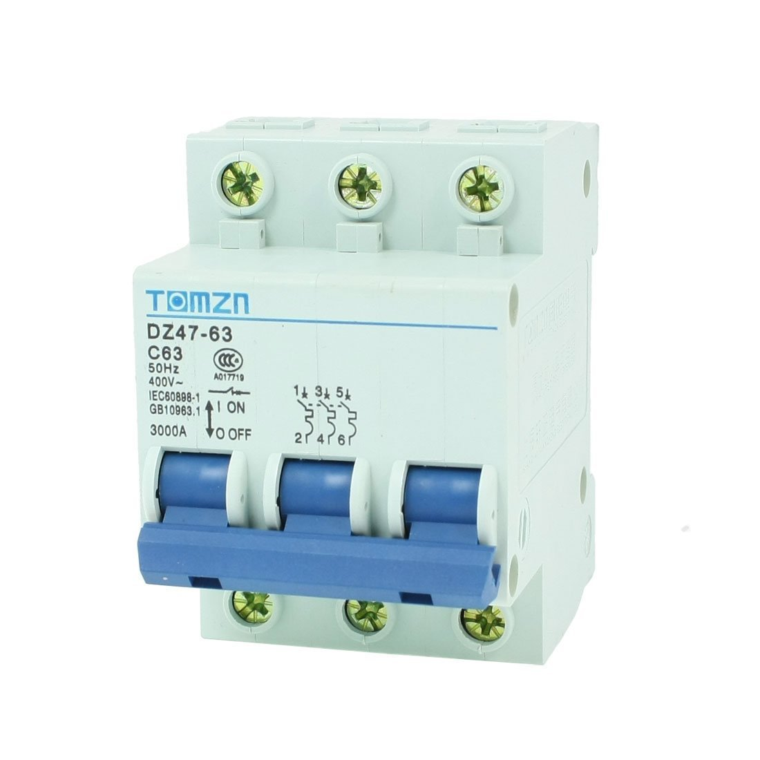 AC 400V 63A 3 Poles 3P Overload Protection MCB Mini Circuit Breaker Sourcingmap a13051300ux0217