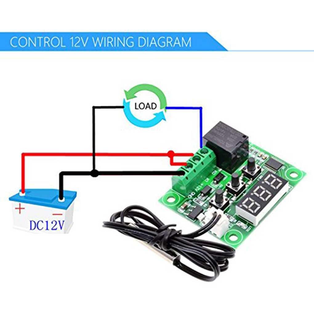 50 /à 110 Contr/ôle de la temp/érature du Module commutateur capteur avec bo/îtier W1209 12V DC num/érique LCD Thermostat Plage ℃