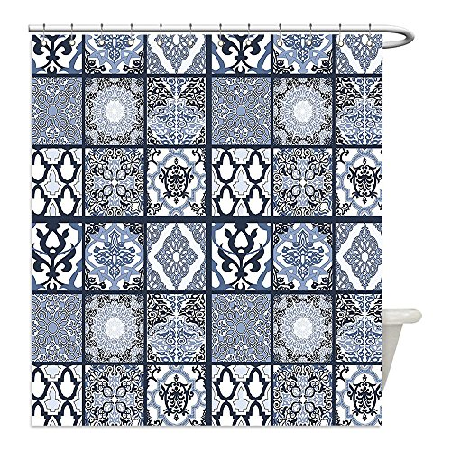 Liguo88 Custom Waterproof Bathroom Shower Curtain Polyester Ethnic Antique Arabian Oriental Mosaic with Ornaments Eastern Geometric Tile Dark Blue Baby Blue White Decorative bathroom by liguo88
