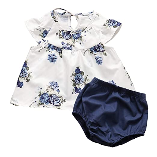 f13cd9b892cda Kids Toddler Baby Girls Shorts Outfits Set Floral Print Ruffle Dress Tops+Short  Pants Summer