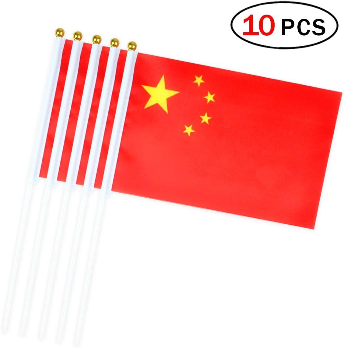 Banderas Pequeñas,Banderas de Mano,Bandera de China con 14 x 21 CM Juego de 10 PCS Mini Bandera Nacional Mini Bandera China: Amazon.es: Deportes y aire libre