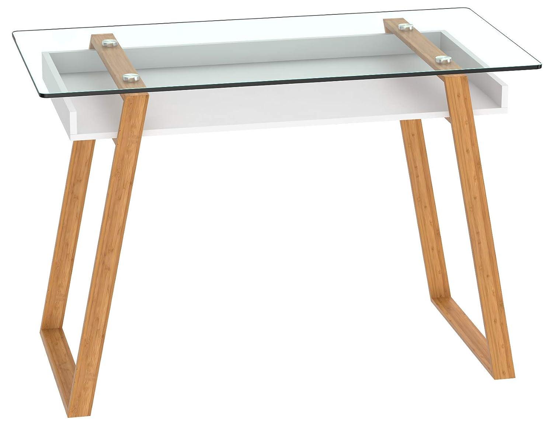 bonvivo Donatella Tavolino da Salotto Tavolino da Soggiorno Tavolino in Vetro Tavolino per Salotto//Tavolino da Salotto Moderno con Telaio in Legno Naturale e Superficie in Vetro