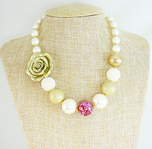 Bubblegum Necklace , Baby's Chunky Beaded Neck wear with Add-On Bracelet, Gold Flower, Girl's 1st Birthday, Photo Prop, Kids Fashion Jewelry. Handmade in the USA (Bracelets Beaded Baby Gold)