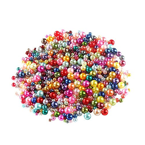 Color Mixed Beads (DECORA 750pc Plastic Pearls, 4-10mm, Mixed Colors,Assorted Size Pearls, Bulk Lot)