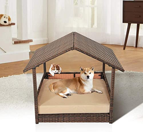 Leaptime Pet Playpens Brown PE Wicker with Cushion Outdoor Indoor Use for Small Animals