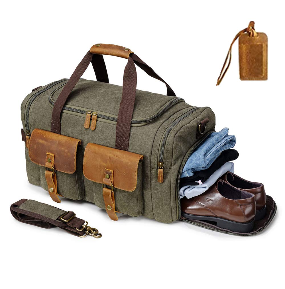 Kemy's Canvas Duffle Bag for Mens Women Oversized Overnight Bags Weekend Travel Duffel Weekender Bags Leather Doufle Gym Carryon Airplanes Carry On Luggage with Shoe Compartment Large Easter Gifts