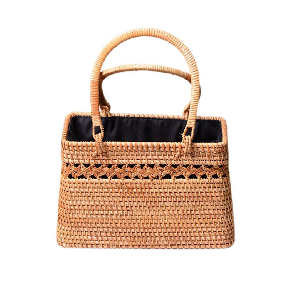 Bohemia estilo de moda hecha a mano de mimbre de paja cesta de recorte exótico cesta de almacenamiento de mimbre de playa cesta de un solo hombro de cuerpo ...