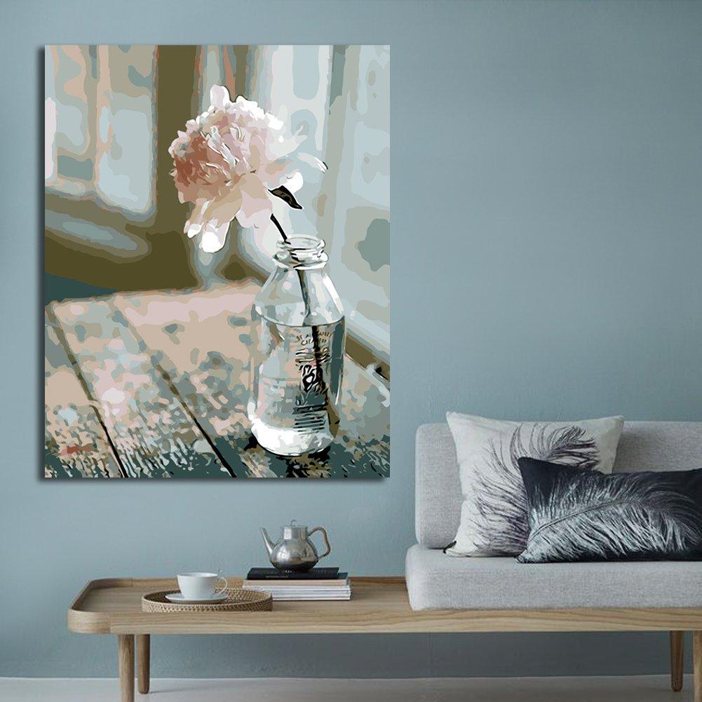 Rihe Holzrahmen?Malen Nach Zahlen DIY Ölgemälde Rosa Blume in der ...