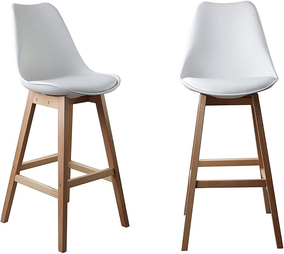 Waroom Home Counter Stool Set of 2, Pub Height 29.5 H Bar Stool with PU Cushioned PP Seat and Square Beech Wood Legs 2-White