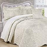 110 Wide King Comforter Serenta Damask 4 Piece Bedspread Set, King, White