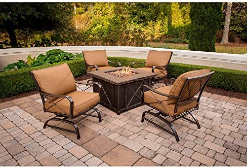 Amazon.com Hanover SUMMRNGHT5PC Summer Nights 5-Piece Patio Fire Pit Set Outdoor Furniture 40  Desert Sun Garden u0026 Outdoor & Amazon.com: Hanover SUMMRNGHT5PC Summer Nights 5-Piece Patio Fire ...