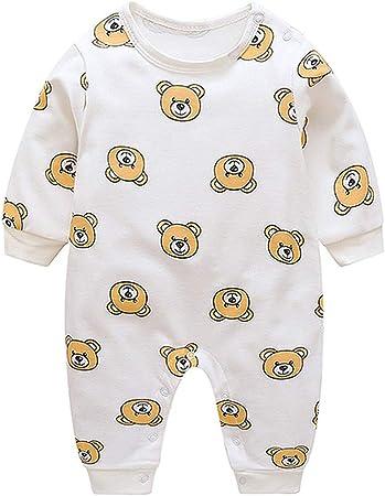 FBGood Pijama Estampado, diseño de Oso de bebé y niña de algodón de Manga Larga, Pijama, Vestido de una Pieza de algodón de otoño de Manga Larga para niño, Blanco, 73: Amazon.es: