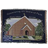 Simply Home Navy Blue and Brown St. Mary's Catholic Church Tapestry Throw Blanket 50'' x 70''
