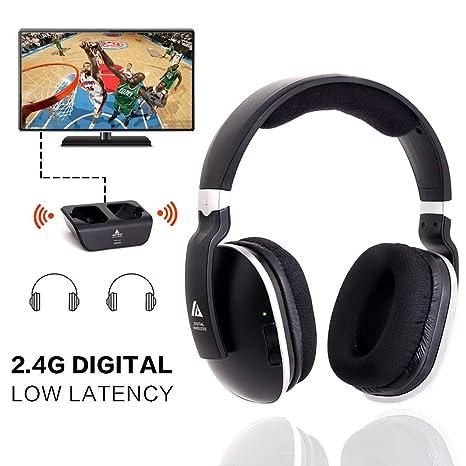 Auriculares TV sin hilos universales, auriculares estéreo de diadema de artista con transmisor rf de