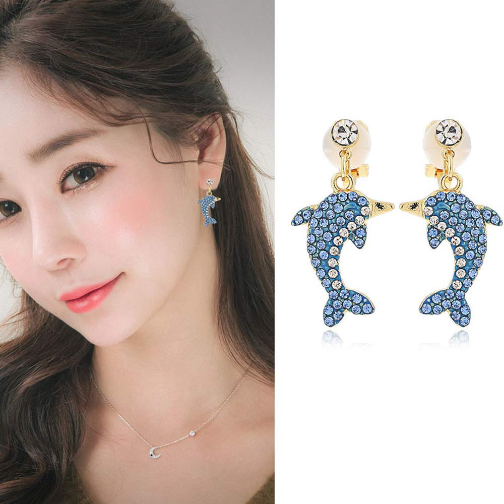 Clip on Earrings Dolphin Dangling Daughter Girls Kids Teens Gold Tone Crystal Rhinestone Chandelier Cute