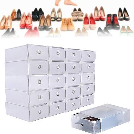 Hansemay 20 Piezas de plástico Transparente Organizador de Almacenamiento de Zapatos Caja apilable Cajas Plegables Shoebox 31 x 20 x 11 cm: Amazon.es: Hogar
