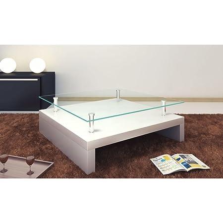 Furnituredeals Mesa Baja de Salón Carree Cristal con Blanco ...