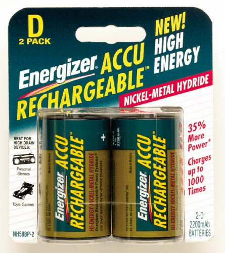 Energizer Recharge Universal D Rechargeable Batteries, 2-Count  (Pack of 2)