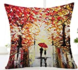 Oil Painting lover with umbrella Maple Leaf Cotton Linen Throw Pillow Case Cushion Cover Home Sofa Decorative 18 X 18 Inch (7)
