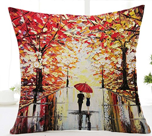 Painting umbrella Cotton Cushion Decorative